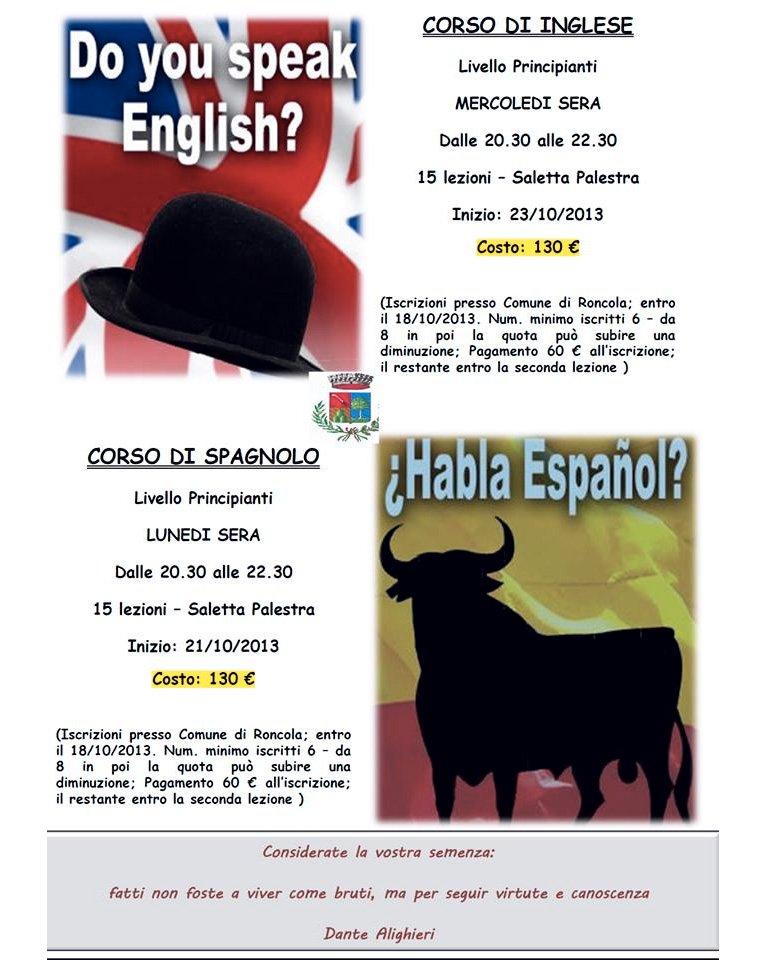 Corsi di inglese e spagnolo