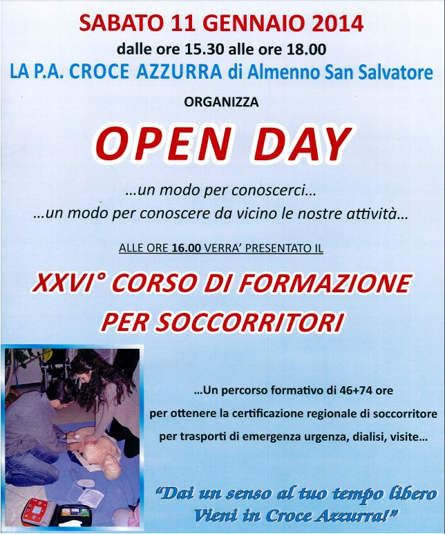 Open day Croce Azzurra Almenno S. Salvatore