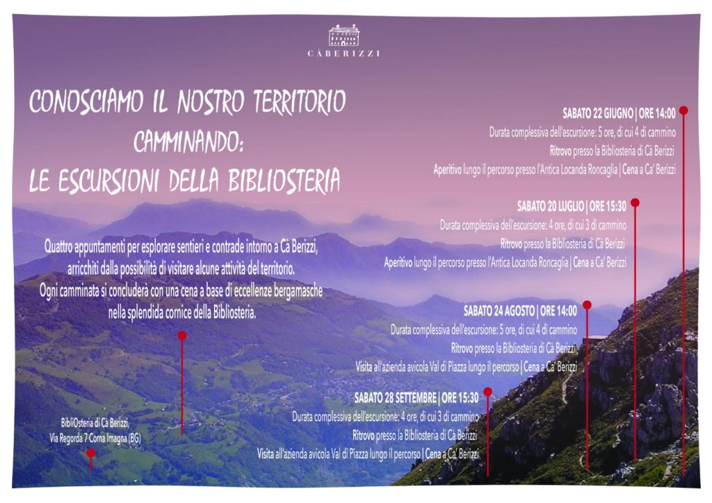 Escursioni sul territorio - BibliOsteria Cà Berizzi - estate 2019