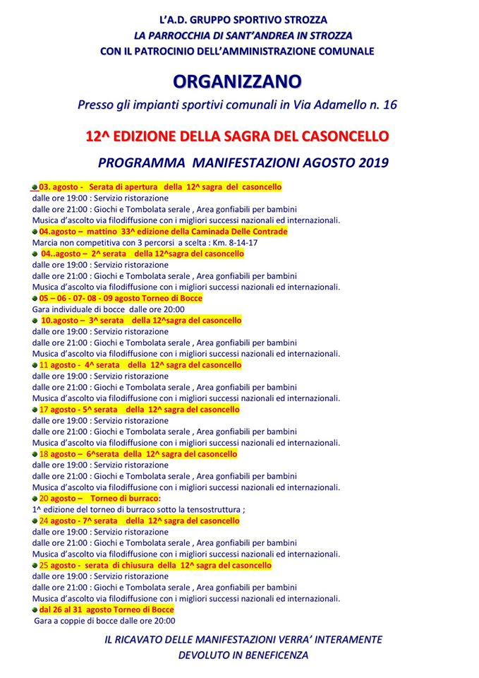 Sagra del Casoncello 2019